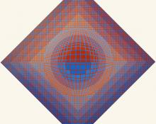 "Edward Goldman, ""Homage to Vasarely"", acrylic, December 1974"