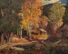 """Fremont Ellis, """"Autumn in Taos Canyon"""", oil, c. 1930"""
