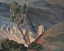 """Vance Hall Kirkland, """"Cliff Dwellers"""", oil, 1928"""