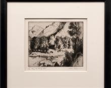 """Gene (Alice Geneva) Kloss, """"Along the Roaring Fork, 65/75"""", etching, 1973, for sale purchase consign auction denver Colorado art gallery museum"""