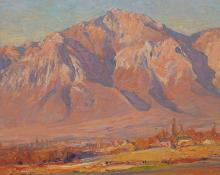 "Emile A Gruppe, ""Ben Lomond, Utah"", oil painting for sale original art"
