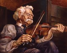 "Eric James Bransby, ""The Old Fiddler (Old Chris)"", tempera, 1940, painting art gallery for sale purchase"