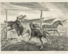 "Lawrence Lorus Barrett, ""Horse Wrangler"", lithograph, 1939"
