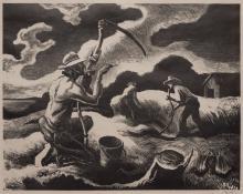 "Thomas Hart Benton, ""Island Hay"", lithograph, 1945 for sale purchase"