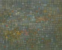 "Robert Wolfe, ""City of the Forest"", oil, 1957 mid century modern abstract painting art gallery for sale"
