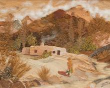 "Pansy Cornelia Stockton, ""Indian House Near Taos (New Mexico)"", mixed media, circa 1950"