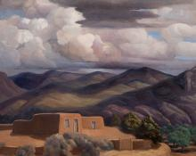 """Anna Elizabeth Keener, """"A Northern New Mexico Home"""", oil, 1965"""