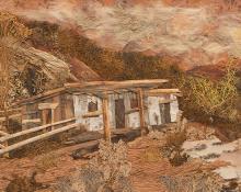 "Pansy Cornelia Stockton, ""Old Stage Coach Station, Santa Fe Trail"", mixed media, circa 1930"