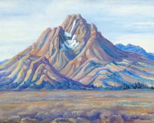 "Anna Elizabeth Keener, ""Tetons"", casein, circa 1920 painting for sale purchase consign auction art gallery denver colorado historical sandzen student"