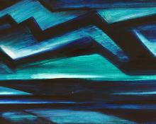 "Anna Elizabeth Keener, ""Mountain Lake"", casein, 1958 painting for sale purchase consign auction art gallery denver colorado historical sandzen student"