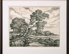 "Birger Sandzen, ""Pastures (Edition of 100)"", lithograph, 1939 painting fine art for sale purchase buy sell auction consign denver colorado art gallery museum"