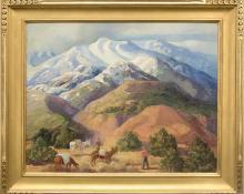 "Anna Elizabeth Keener, ""The Prospectors"", oil, circa  1930 painting for sale purchase consign auction art gallery denver colorado historical sandzen student"