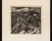 "Ross Eugene Braught, ""Tchaikovsky's Sixth (The Badlands, South Dakota)"", lithograph, 1934, for sale purchase consign auction denver Colorado art gallery museum"