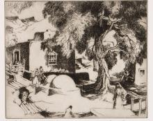 """Gene Kloss, """"Courtyard in Chimayo (Artist Proof)"""", etching, 1973 painting fine art for sale purchase buy sell auction consign denver colorado art gallery museum"""