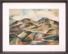 """Frank """"Pancho"""" Gates, """"Untitled (Colorado Mountains)"""", watercolor painting fine art for sale purchase buy sell auction consign denver colorado art gallery museum"""