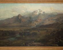 "George Ernest Colby, ""Untitled (Mountain Landscape)"", oil painting fine art for sale purchase buy sell auction consign denver colorado art gallery museum 19th century"