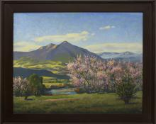 """Harold Vincent Skene, """"Peach Blossoms"""", oil, 1958 for sale purchase consign auction denver Colorado art gallery museum"""