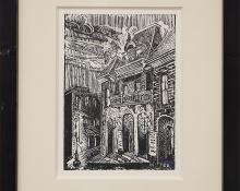 """Margaret Tee, """"Untitled (Central City Opera House, Colorado)"""", woodcut (Woodblock) painting fine art for sale purchase buy sell auction consign denver colorado art gallery museum"""