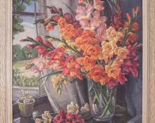 Glads (Interior Still Life with Gladiola) Nellie Killgore Klinge 1950s oil painting fine art for sale purchase buy sell auction consign denver colorado art gallery museum