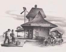 "James Fitzgerald, ""Monument, Colorado"", lithograph, 1937 wpa era print regionalist broadmoor academy railroad station social realist"