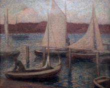 """Carl Eric Olaf Lindin, """"Untitled (Harbor, Norway)"""", oil, c. 1900. tonalism scandinavian"""