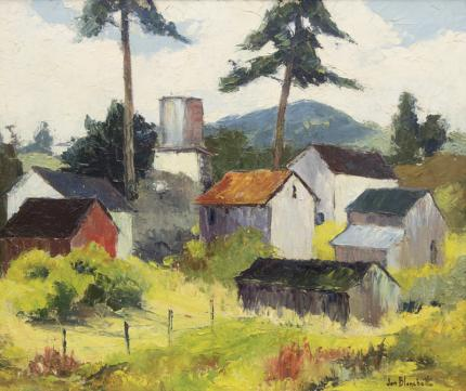 """Jon Blanchette, """"Old Aptos #108 (California)"""", oil, circa  1955 vintage midcentury modern painting fine art for sale purchase buy sell auction consign denver colorado art gallery museum"""