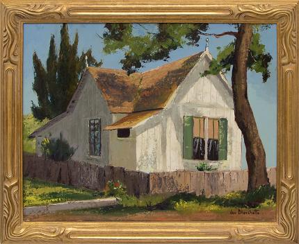 "Jon Blanchette, ""Old Field Home in Capitola (206 Central Avenue)"", oil, circa 1955 for sale purchase consign auction denver Colorado art gallery museum"
