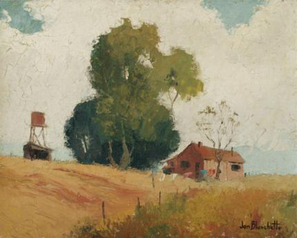 "Jon Blanchette, ""Untitled (Barn and Silo, California)"", oil, circa 1955 painting fine art for sale purchase buy sell auction consign denver colorado art gallery museum"