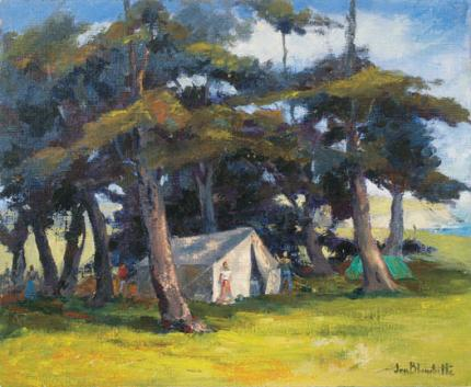 "Jon Blanchette, ""Mendocino Hippies (California)"", oil, circa 1955 painting fine art for sale purchase buy sell auction consign denver colorado art gallery museum"