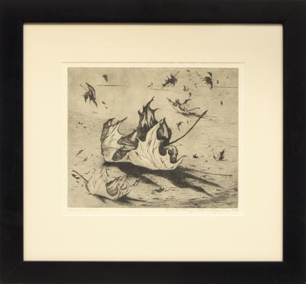 "Ethel Magafan, ""November Leaves, Artist Proof"", etching, c. 1947 for sale purchase consign auction denver Colorado art gallery museum"