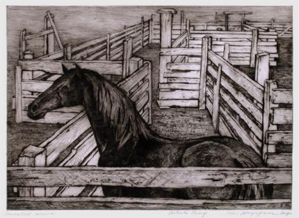 """Ethel Magafan, """"Corralled Horse, Artists Proof"""", etching, c. 1947"""