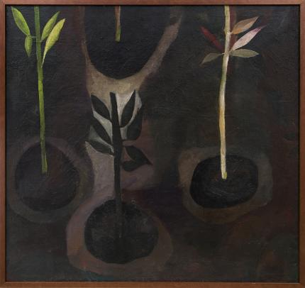 """Polia Sunockin Pillin, """"Earth"""", oil, 1957 painting for sale purchase consign auction denver Colorado art gallery museum"""