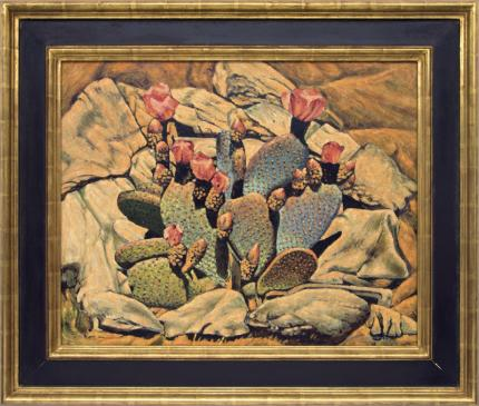 Frank Gavencky Flowering Cactus desert oil nting fine art for sale purchase buy sell auction consign denver colorado art gallery museum