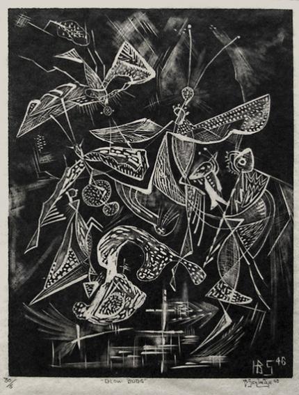 "Howard Behling Schleeter, ""Glow Bugs, 6/30"", etching, 1946"