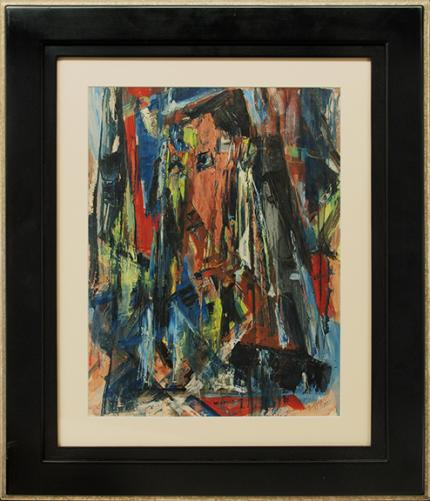 Charles Bunnell, Abstract Expressionist Composition in Red, Blue, Black, Yellow, Red-Orange, oil painting, art for sale, 1951, midcentury, mid-century modern, Ragland, broadmoor academy, colorado springs fine arts center