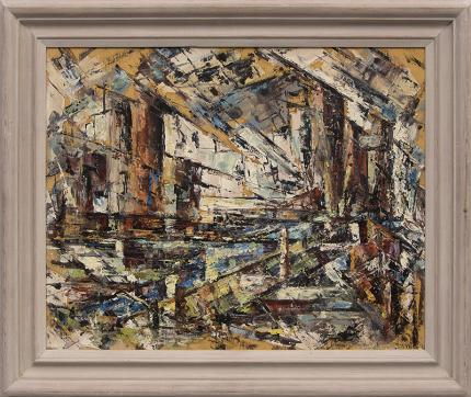 """Charles Ragland Bunnell, """"Untitled (Colorado Mining District)"""", oil, 1951 painting for sale purchase consign auction denver Colorado art gallery museum"""