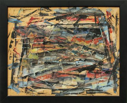 Charles Bunnell art for sale, abstract expressionist oil painting, 1956, mid-century modern, Colorado Springs fine arts center, broadmoor academy, red, yellow, blue, black