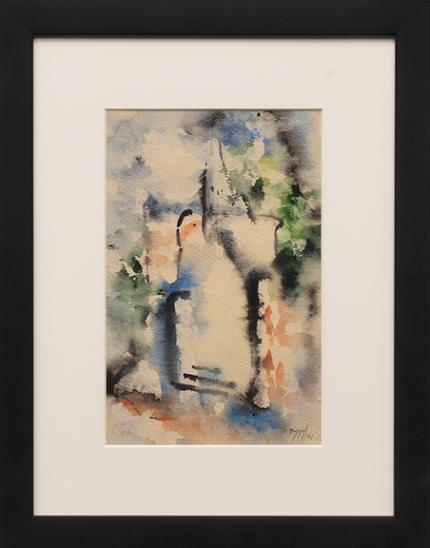 """Charles Ragland Bunnell, """"Untitled"""", watercolor on paper, 1953, painting, for sale purchase consign auction denver Colorado art gallery museum"""