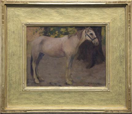 "Eanger Irving Couse, ""Untitled (Study of a Horse)"", oil on canvas, July 16, 1901 painting for sale purchase consign auction denver Colorado art gallery museum"