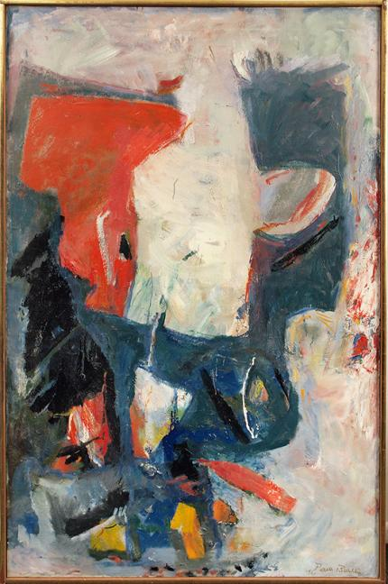"Paul (Harry) Burlin, ""White Phantom"", oil on canvas, 1961 painting for sale purchase consign auction denver Colorado art gallery museum"