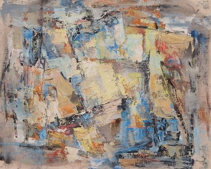 """Charles Ragland Bunnell, """"Carnival"""", oil, 1960 for sale purchase consign auction denver Colorado art gallery museum"""