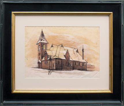 "Jenne Magafan, ""Church in Leadville (Colorado)"", mixed media, 1938 for sale purchase consign auction denver Colorado art gallery museum"