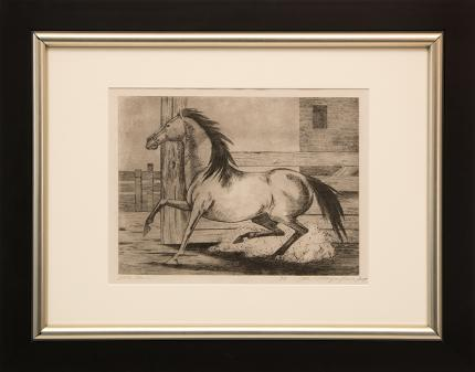 "Ethel Magafan, ""Little Mare, 6/8"", etching, c. 1947 for sale purchase consign auction denver Colorado art gallery museum"