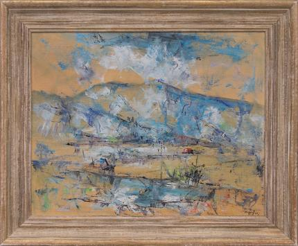 "Charles Ragland Bunnell, ""Untitled (Mountains near Colorado Springs)"", oil, 1962 abstract painting fine art for sale purchase buy sell auction consign denver colorado art gallery museum"