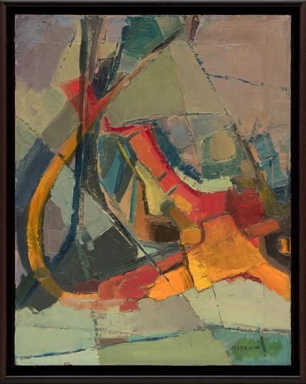 "Florence Graziano, ""Abstract in Green and Orange"", oil, 1968 for sale purchase consign auction denver Colorado art gallery museum"