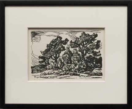 "Birger Sandzen, ""Mountain Slope (Colorado); edition of 100"", lithograph, 1925 for sale purchase consign auction denver Colorado art gallery museum"
