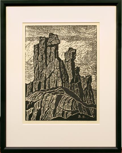"""Sven Birger Sandzen, """"The Temple of the Great Spirit; one edition printed"""", woodcut, 1922 for sale purchase consign auction denver Colorado art gallery museum"""