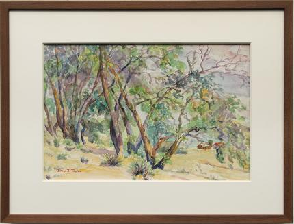 """Irene D. Fowler, """"Untitled (Trees in a Western Landscape)"""", watercolor Denver Colorado art gallery painting for sale auction"""