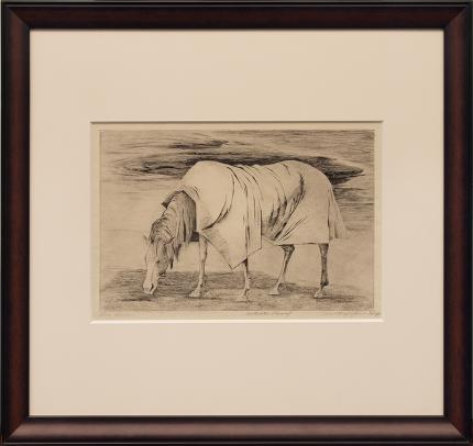 """Ethel Magafan, """"Lone Horse, Artist Proof"""", etching, 1947 for sale purchase consign sell auction art gallery museum denver colorado"""