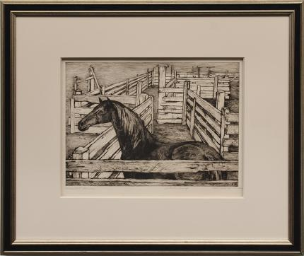 """Ethel Magafan, """"Corralled Horse, Artists Proof"""", etching, 1947 art gallery for sale purchase auction"""